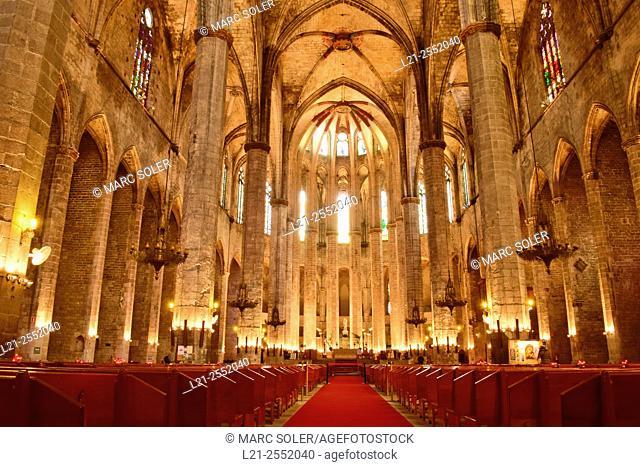 Santa Maria del Mar church. Gothic style, La Ribera district, Barcelona, Catalonia, Spain