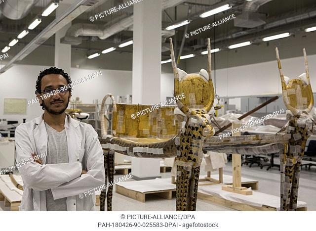Egyptian conservator Mohamed Mostafa, pictured inside a conservation laboratory at the Grand Egyptian Museum, in Giza, Egypt, 26 April 2018