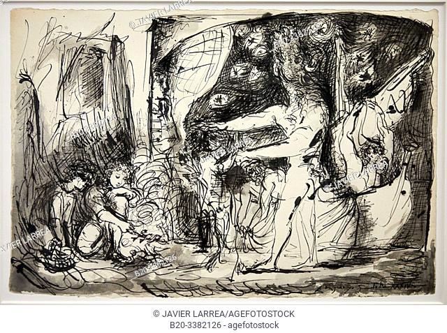 """""""Minotaure aveugle guidé par une fillette"""", 1934, Pablo Picasso, Picasso Museum, Paris, France, Europe"""