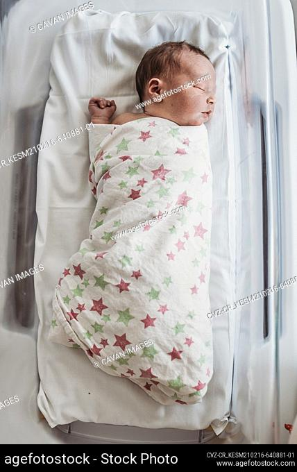 High angle of newborn baby boy in bassinet wrapped in hospital blanket
