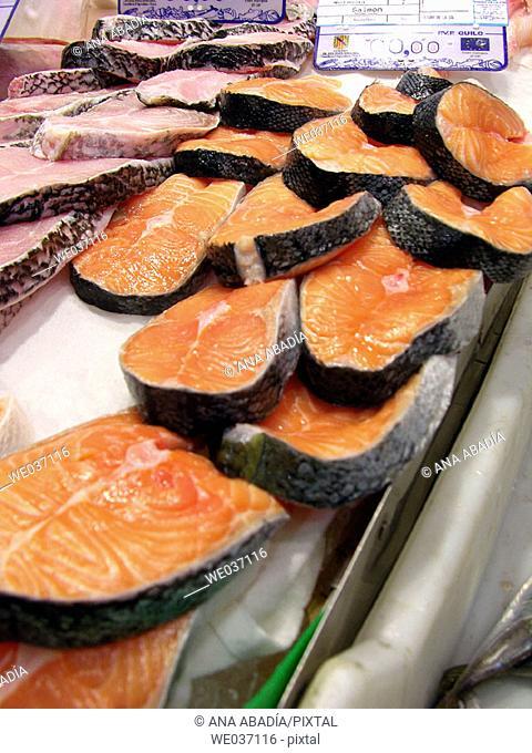 Salmon and grouper for sale at market. El Olivar, Palma de Mallorca. Majorca, Balearic Islands, Spain
