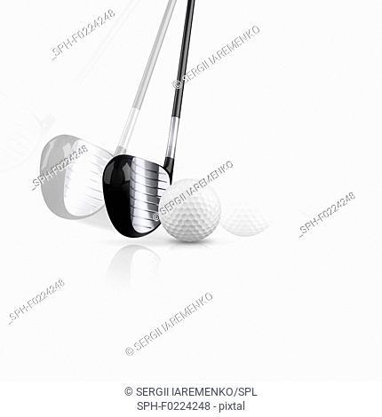 Golf club with golf ball, illustration