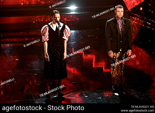 Italian singers Francesca Michelin and Fedez at the Ariston theater during the 71st Sanremo Italian Song Festival, in Sanremo, Italy, 04 March 2021