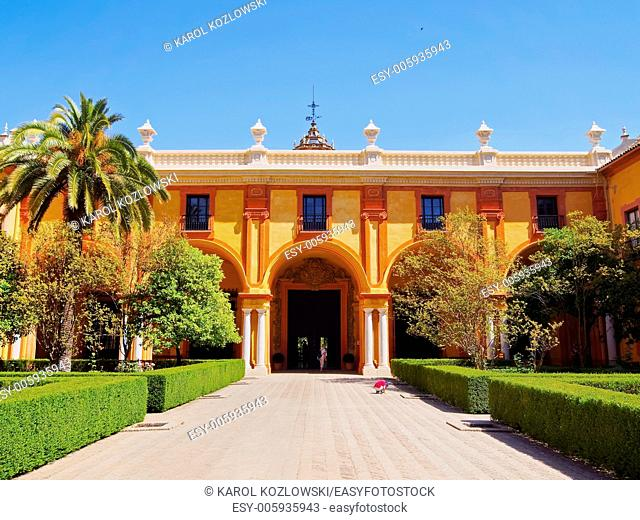 Reales Alcazares in Seville - residence developed from a former Moorish Palace in Andalusia, Spain