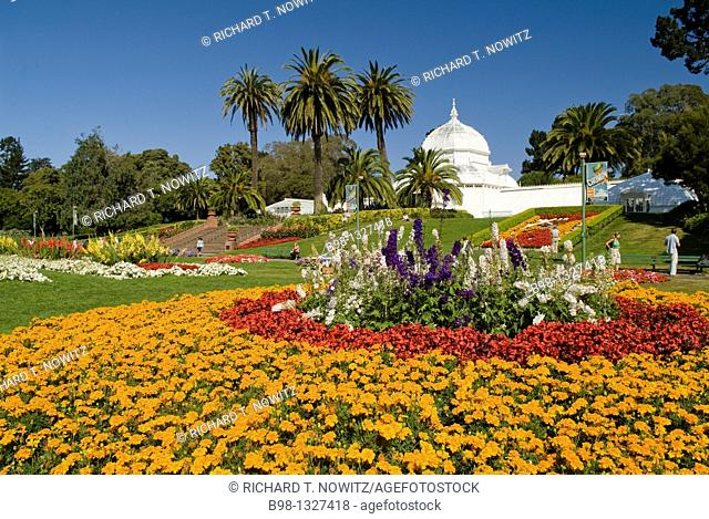 Flowers bloom around the Conservatory in Golden Gate Park, SanFrancisco, California