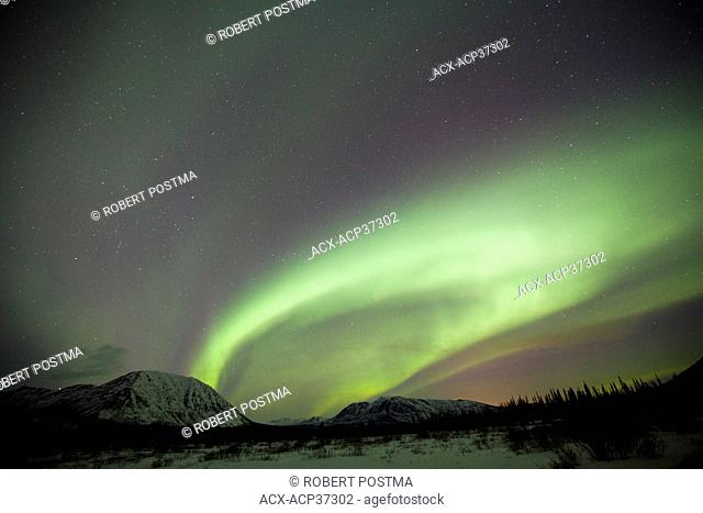 Aurora borealis or northern lights above the mountains outside of Whitehorse, Yukon Territory, Canada