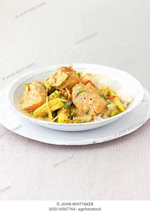 Salmon and vegetable curry
