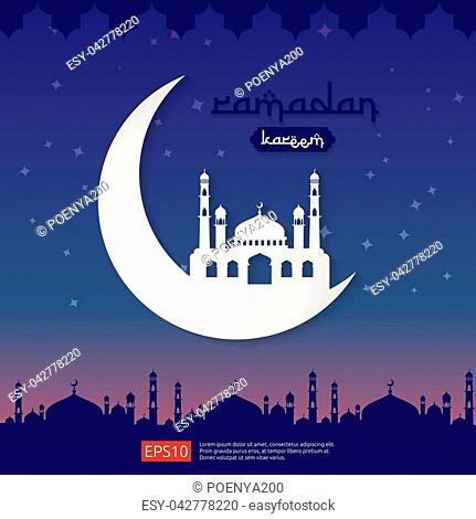 Ramadan Kareem islamic greeting design with dome mosque element in flat style. background Vector illustration