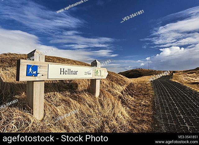 Path sign of Hellnar-Arnarstapi coastal path, Snaefellsnes peninsula (region of Vesturland, Iceland)