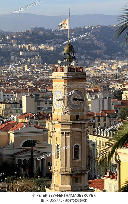 Place Saint Francois, with the tower of the former city hall, Nice, Alpes Maritimes, Région Provence-Alpes-Côte d'Azur, Southern France, France, Europe