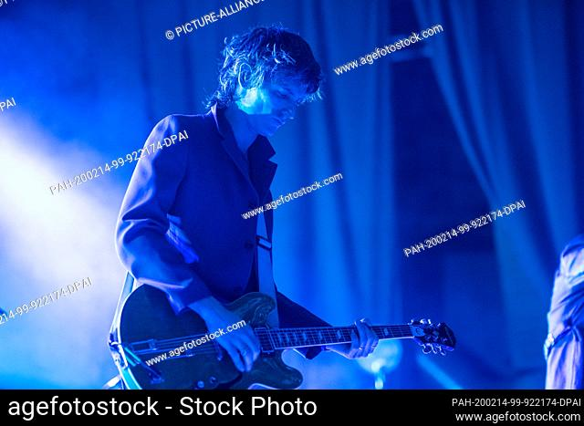 14 February 2020, Berlin: Nick Valensi, guitarist of the US rock band The Strokes, plays at a concert in the Columbiahalle