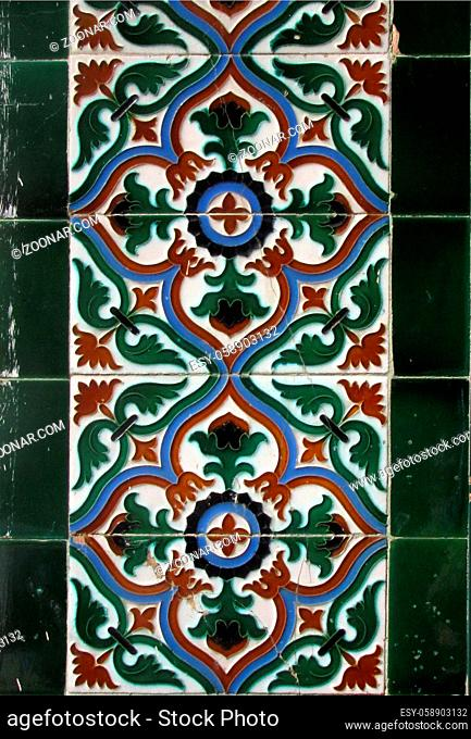Checkered traditional Cuban ceramic mosaic tile background pattern. Architectural mosaic detail, abstract background for street, bath and pool