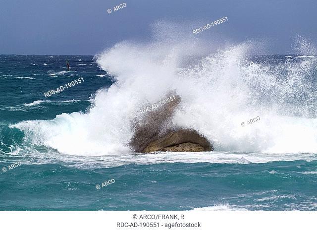 Rock in surf, Vignola Mare, Gallura, Sardinia, Italy, Mediterranean Sea