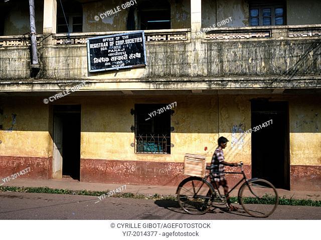 Weathered facade in a street of Panaji, Goa, India