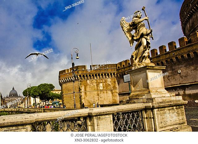 Angel with the Sponge by Antonio Giorgetti, Ponte Sant'Angelo bridge, Mausoleum of Hadrian, Castel Sant'Angelo, Castle of the Holy Angel, Rome, Lazio, Italy