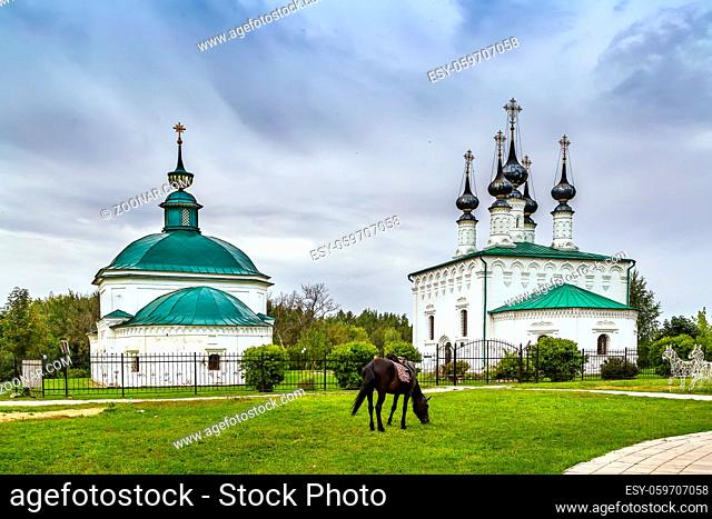The ensemble of Church of the Entry of the Lord into Jerusalem and the Church of Paraskeva Friday, Suzdal, Russia