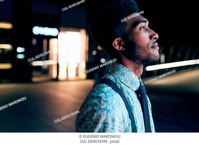 Side view of young businessman