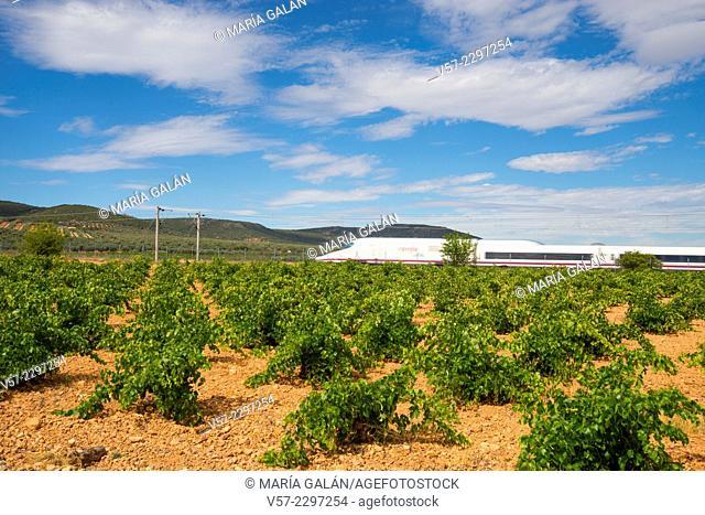 AVE High-speed train traveling along La Mancha. Toledo province, Castilla La Mancha, Spain