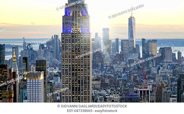 Skyline of Manhattan at duk, New York City aerial view