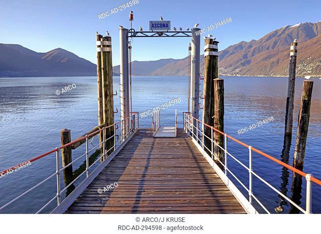 Pier, Lago Maggiore, Ascona, Ticino, Switzerland