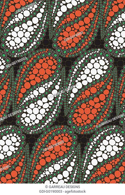 Orange and white circular mosaic design