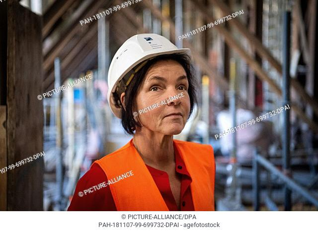 25 October 2018, Berlin: Astrid Marlow, Project Manager Planning of the construction site at the Pergamonmuseum, stands on the construction site of the...
