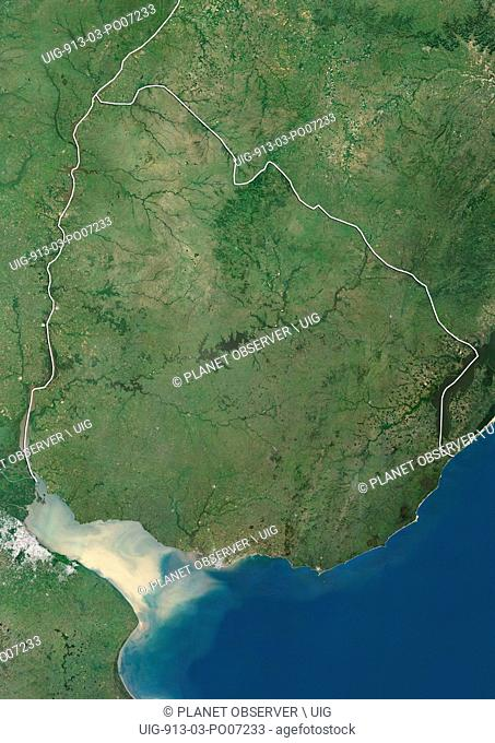 Satellite view of Uruguay (with country boundaries). This image was compiled from data acquired by Landsat satellites