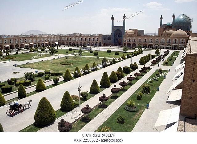 Imam Mosque seen from Ali Qapu Palace, Imam Square (Maydan-e Imam); Isfahan, Iran