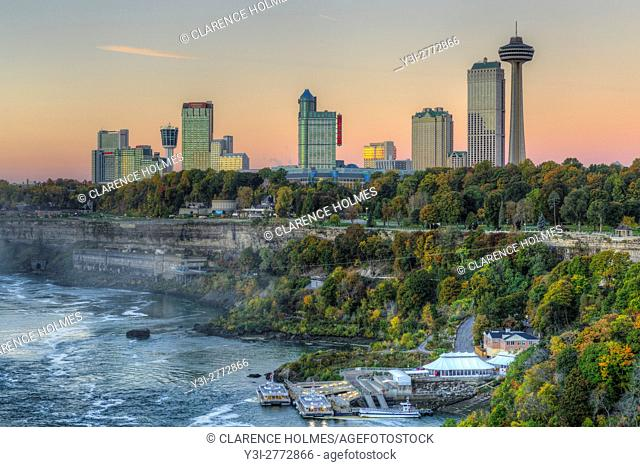 A view of the Niagara River and skyline of Niagara Falls, Ontario just before sunrise