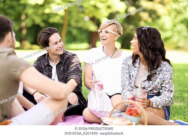 happy friends with drinks at summer picnic