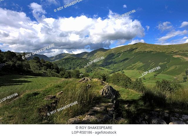 England, Cumbria, Troutbeck , A view of Three Bell Ridge in Troutbeck Park