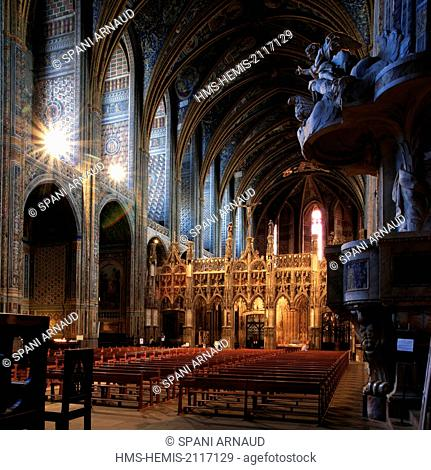 France, Tarn, Albi, listed as World Heritage by UNESCO, Sainte Cecile, view of tne nave