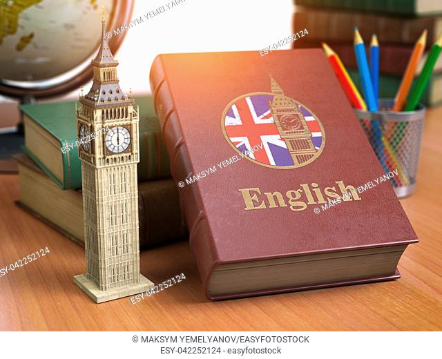 Studying and learn English concept. Book with flag of Great Britain and Big Ben tower on the table. 3d Iluustration
