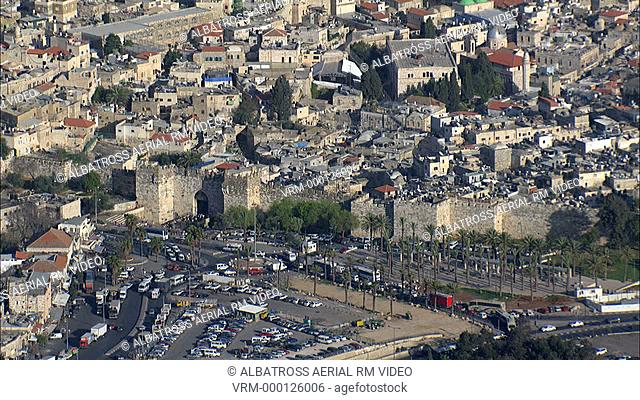 Aerial footage of the old city of Jerusalem