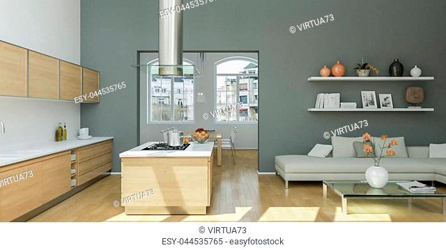 Modern bright flat interior design with grey accents 3d Illustration