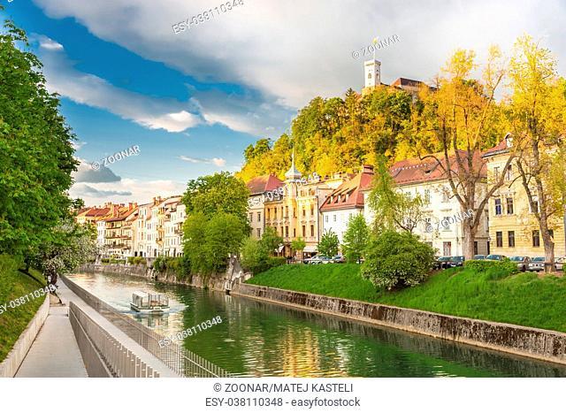 Medieval houses of Ljubljana, Slovenia, Europe