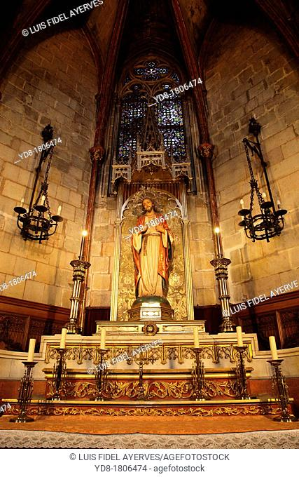 Image of the Sacred Heart of Jesus in the Interior of the Cathedral, Barcelona, Catalonia Spain, Europe