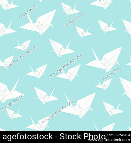 Stock vector seamless pattern paper origami swan