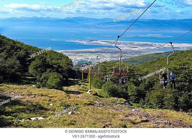 Ushuaia, the chair lift to the Martial Glacier in the background the Beagle Channel, Tierra Del Fuego, Argentina, South America