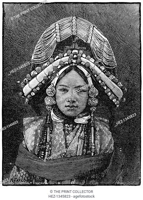 The Ranee of Sikkim, 1889. A print from The Illustrated London News, (16 February 1889)
