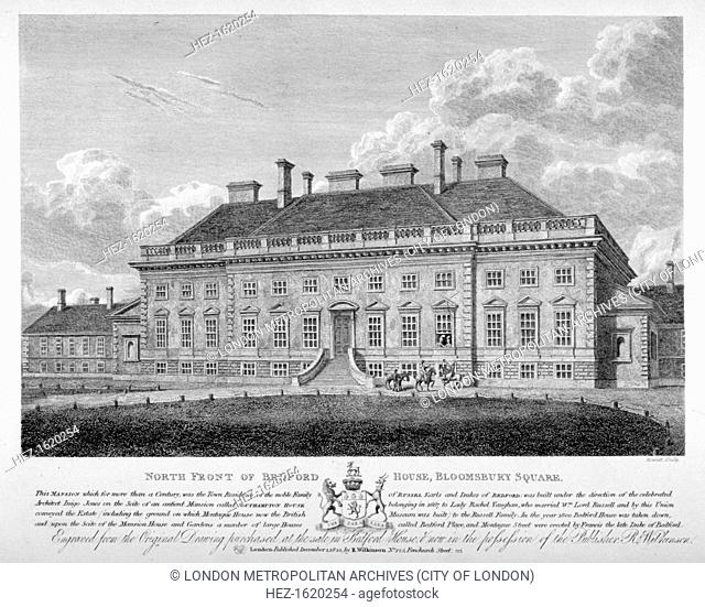 Bedford House, Bloomsbury Square, Bloomsbury, London, 1822. View of the north front of Bedford House with men on horses conversing with ladies at a window