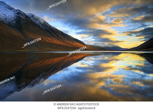 Loch Etive in the Scottish Highlands captured shortly before sunset in early November from Gualachulain