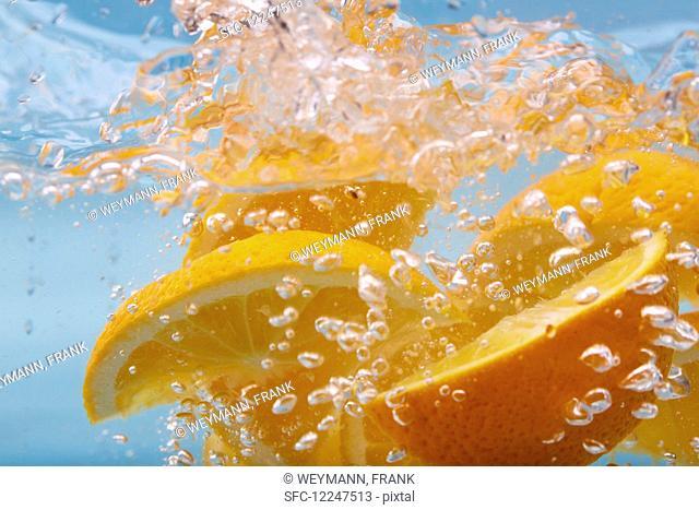 Orange slices in sparkling water