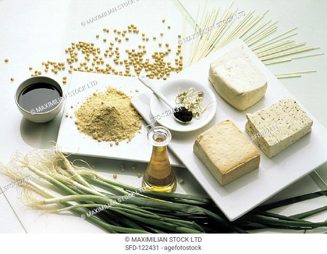 Assorted Ingredients, Tofu and Soy Sauce