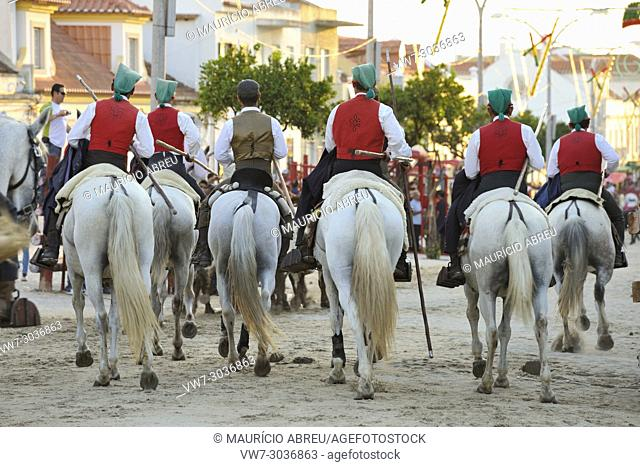 """Traditional running of wild bulls by the """"""""campinos"""""""", during the Barrete Verde (Green Cap) festivities. Alcochete, Portugal"""
