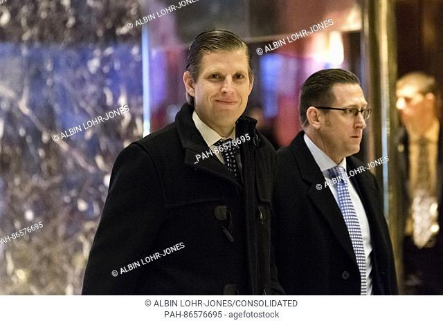 Eric Trump is seen upon his arrival in the lobby of Trump Tower in New York, NY, USA on December 14, 2016. Credit: Albin Lohr-Jones / Pool via CNP - NO WIRE...