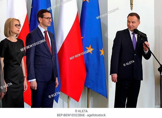 Warsaw, Poland. 11.05.2018. Pictured: PM of Poland Mateusz Morawiecki, President Andrzej Duda, Teresa Czerwinska