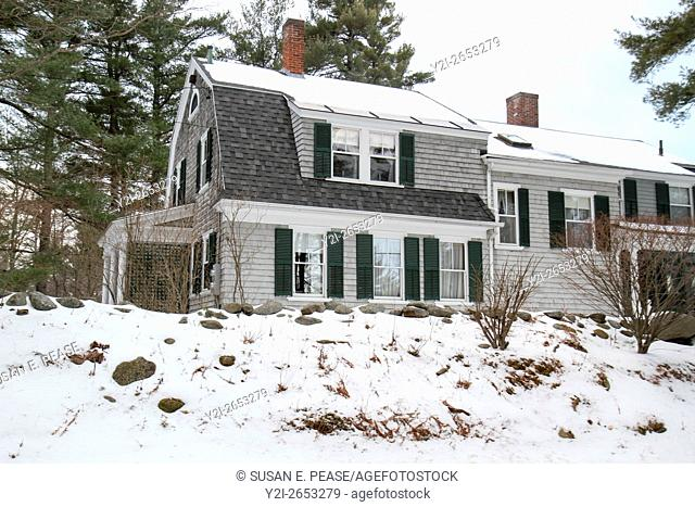 Winter view of a home in Jaffrey Center, Jaffrey, New Hampshire, United States, North America. Editorial use only
