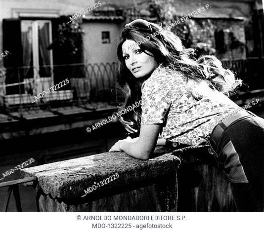 Portrait of Scilla Gabel on a terrace. Portrait of the Italian actress Scilla Gabel (Gianfranca Gabellini) on a terrace. Rome, May 1968