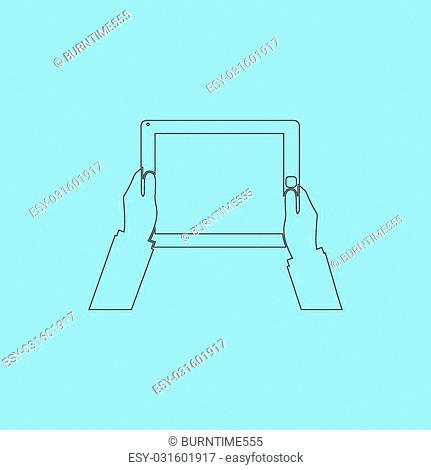 Hands holding tablet computer with blank screen. Simple outline flat vector icon isolated on blue background